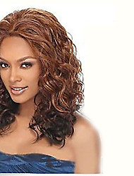 New Tousled Ringlets Wig Brown And Auburn mix color free shipping