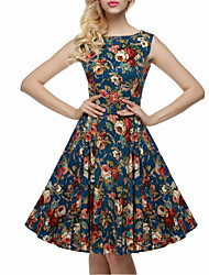 Women's Vintage / Simple / Street chic Floral Swing Dress,Round Neck Knee-length Cotton / Polyester