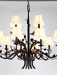 12 Heads Double Level Rustic Vintage Countryside Resin Bird and Pine Cones for House Chandelier Lamp