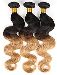 Омбре Индийские волосы Естественные кудри 3 предмета волосы ткет