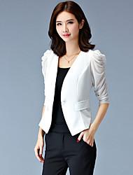 Mulheres Blazer Trabalho Plus Sizes Verão,Sólido Branco / Preto Lã / Poliéster Decote V Manga ¾ Média