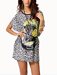 Women's Casual/Daily Vintage Summer T-shirt,Leopard Round Neck Short Sleeve Gray Cotton Thin