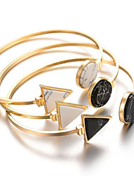 Alloy Round Triangle Natural Stone Gem Adjustable Cuff Bangle Bracelet