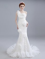 Trumpet / Mermaid Wedding Dress Chapel Train One Shoulder Lace / Satin / Tulle with Beading / Lace