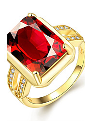 Women's Band Rings Fashion Birthstones Elegant Gemstone Gold Plated Square Jewelry For Wedding Party Daily