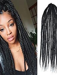 Black Senegal Crochet Twist Large Box Braid 24 inch Kanekalon 3 Strand 100g Synthetic Hair Braids with Free Crochet Hook