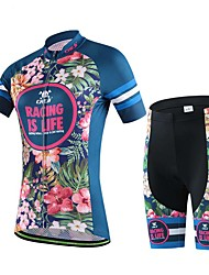 Sports Cycling Jersey with Shorts Women's Short Sleeve Bike Breathable / Sweat-wicking Bottoms / Tops ElastaneSpring / Summer /