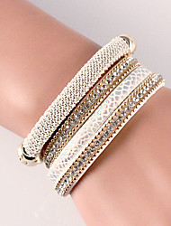 Fashion Multilayer Rhinestone Leather Tassel Bracelets & Bangles Magnetic jewelry #YMG1093
