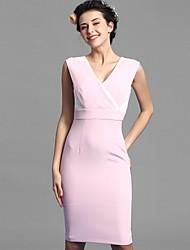 Baoyan® Damen V-Ausschnitt Ärmellos Über dem Knie Kleid-160149