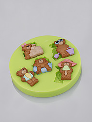 Cake Tools Teddy Bear Summer Beach Silicone Fondant Mold Cake Decorating Tools for Chocolate Cupcake Candy Clay Making