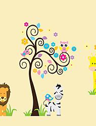 Kindergarten Children's Bedroom Art Wall Stickers Animals Cartoon Owl Lion Botanical Wall Decals