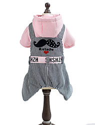 Dog Hoodie / Pants Yellow / Pink Dog Clothes Winter Hearts / Stripe