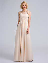 Floor-length Spaghetti Straps Bridesmaid Dress - Floral Sleeveless Chiffon