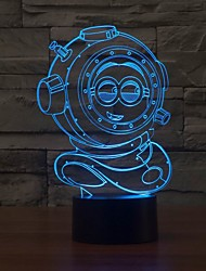 Cartoon Image 3D LED Modern Nightlight 7 Color Change USB Touch  Table Desk Lamp Color-Changing Night Light
