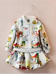 Casual/Dagelijks-Patchwork-Katoen-Herfst-Girl's-Kostuum & Blazer-Wit