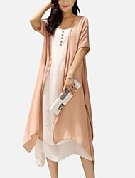 Women's Vintage Simple Solid Loose Round Neck Midi Linen Dress