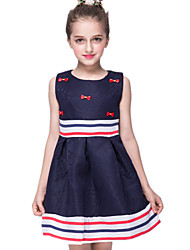 Girl's Formal Striped Dress,Polyester Summer Black