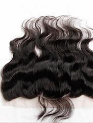 13 x 4 inch Черный / Натуральный чёрный (#1В) Лента спереди Волнистый Человеческие волосы закрытие Светло-коричневый Швейцарское кружево