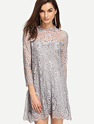 Women's Going out Sexy Lace Dress,Embroidered Crew Neck Above Knee Long Sleeve Gray Others Summer