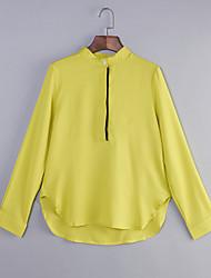 Damen Einfarbig Einfach / Street Schick Lässig/Alltäglich T-shirt,Rundhalsausschnitt Alle Saisons Langarm Weiß / GelbBaumwolle /