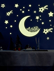 Luminous DIY Fashion Moon City Star Luminous Wall Stickers PVC Removable Bedroom Living Room Wall Decals