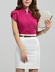 Women's Shirt Collar Pleated Blouse , Cotton Short Sleeve