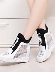 Damen-Loafers & Slip-Ons-Lässig-Leder-Keilabsatz-Wedges / Rundeschuh-Schwarz / Rot / Weiß
