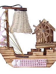 Wooden Sailboat Table Lamp With Music Box