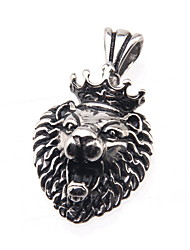 316L Stainless Steel Pendant Crown Lion Head