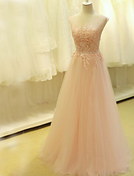 2017 Formal Evening Dress A-line Scoop Sweep / Brush Train Tulle with Appliques / Beading
