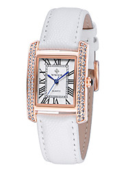 Women's Fashion Watch Water Resistant / Water Proof Swiss Designer Quartz Leather Band Vintage Sparkle Charm Black White Red