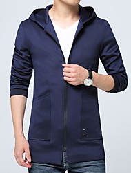 Men's Long Sleeve Casual Jacket,Polyester / Spandex Solid Black / Blue