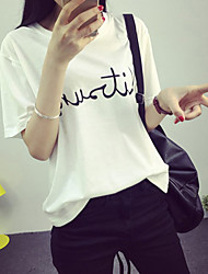 Damen Druck Einfach Lässig/Alltäglich T-shirt,Rundhalsausschnitt Sommer Kurzarm Weiß / Schwarz / Grau Polyester Dünn