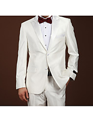 Suits Slim Fit Notch Single Breasted Two-buttons Wool Solid 2 Pieces White Straight Flapped None (Flat Front) White None (Flat Front)