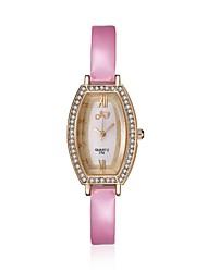 2016 Luxury Noble Fashion Quartz Diamond Rose Gold Case Pink Leather Women Watches