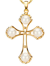 Pendants Metal / Pearl Cross Shape Golden / White 50