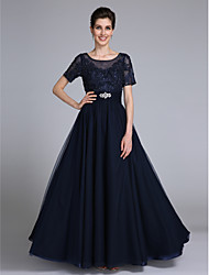 Lanting Bride Sheath / Column Mother of the Bride Dress Floor-length Short Sleeve Chiffon / Lace withAppliques / Beading / Crystal