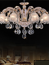 10 Lights Modern Simple European Style Chandeliers Flowers Crystal  LED Pendant Lights