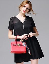 AFOLD® Women's V Neck Short Sleeve Knee-length Dress-5657