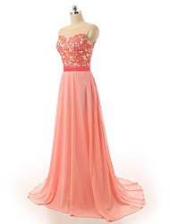 Formal Evening Dress - Sparkle & Shine Sheath / Column Scoop Sweep / Brush Train Chiffon Satin with Appliques Sash / Ribbon