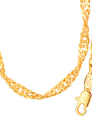 New Trendy 18K Gold Plated Chains Necklace For Men Women Copper Jewelry With Simple Unique Design For  Lover Gift N50140