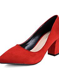 Feminino Saltos Flanelado Verão Casual Salto Grosso Preto Cinzento Vermelho Rosa claro 5 a 7 cm