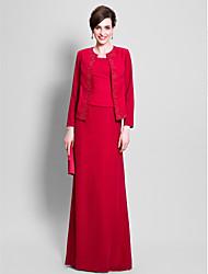 Sheath/Column Mother of the Bride Dress - Floor-length Long Sleeve Chiffon