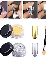 2 Stück Gold-Silber-Chrom-Spiegel Pulverstaub Pigment magische Alunagel Pailletten Glitzer DIY Nageldekoration Werkzeuge