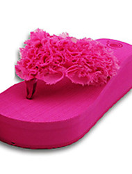 Women's Slippers & Flip-Flops Summer Flip Flops Polyester Casual Wedge Heel Others Black / Fuchsia