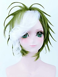 Charming Cosplay Wig Green Mix White with Bang Party Wigs High Quality