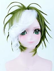 charmante perruque cosplay vert mélange blanc avec Bang parti perruques de haute qualité