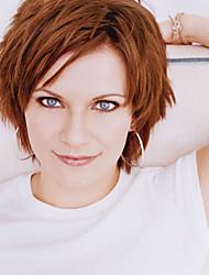 brun perruques couleur de cosplay résistants à la chaleur Vente synthétique en gros à court bouclés cosplay parti perruque