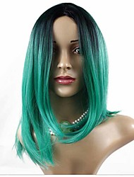 Fashion Synthetic Wigs Color Green Wigs Bob Straight Black And Green Women Hair Wigs