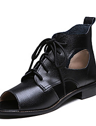 Women's Shoes Low Heel Peep Toe / Fashion Boots Boots Office & Career / Dress / Casual Black / White / Silver